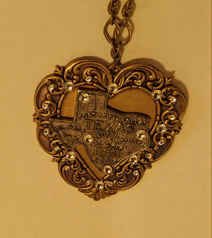 "Heart of Texas Antique Gold Necklace with Swavorski Crystals "" I Love Me Some Texas"""