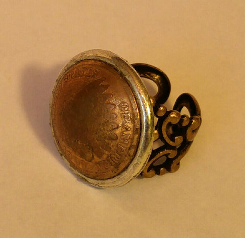 Domed Indian Penny On A Beautifully Crafted Adjustable Ring