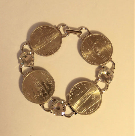 "North Carolina State Quarter Bracelet with Crystal  "" Call North Carolina Home"""
