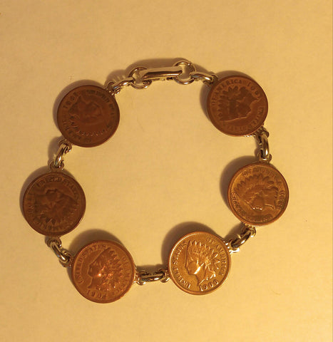 "Classic Indian Head Penny Bracelet. ""Wear A Peice Of History"""