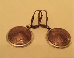Indian Head Penny Domed Bezel Earrings.