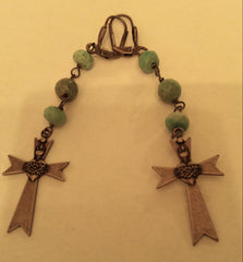 "Chrysocolla ""Praise the Lord"" Cross Earrings"