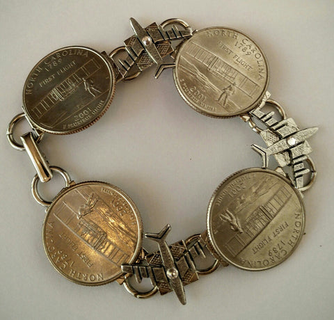 "North Carolina Quarters Bracelet with Clever Planes. ""First in Flight"""