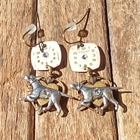"""Time To Walk The Dog"" Earrings Antique Silver Running Dog Madallions Altering Genuine Antique Watch Faces Blinged Out With Swarovski Crystals"