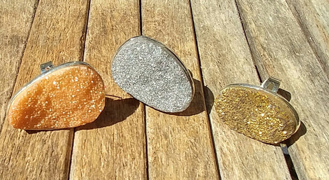 Druzy Quartz Sterling Silver Statement Rings In Gold, Silver and Rose Gold