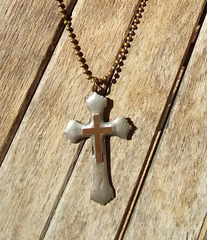 Antique Silver Cross Necklace With Brass Cross In Center