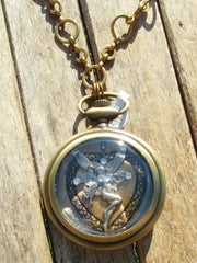 Antique Brass Stop Watch Necklace With Antique Silver Fairy On A Antique Gold Medallion Accented With Swarovski Crystals