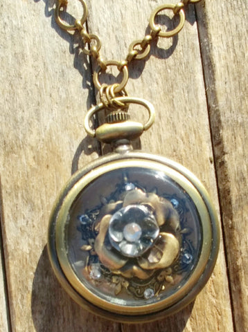 "Antique Brass Stop Watch Necklace with ""Beautiful Rose"" Accented With Swarovski Crystals"
