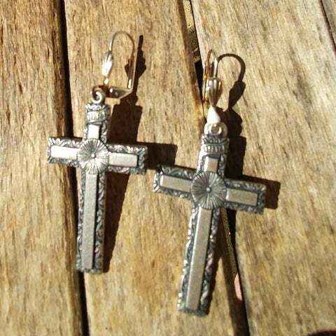 """St. Christopher Cross"" Antique Silver Earrings."