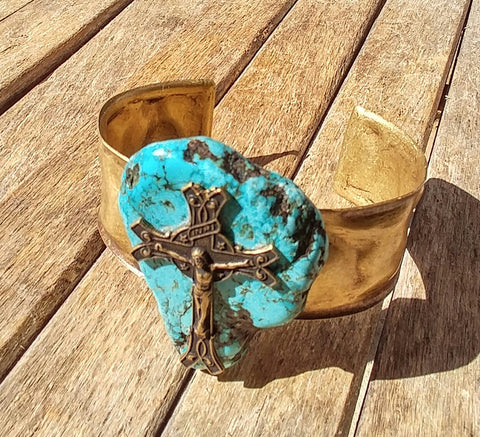 "BoHo Festival Chic Brass Cuff With Genuine Turquoise Pendant And A Crucifixtion Cross  ""Stunning Jewelry"""