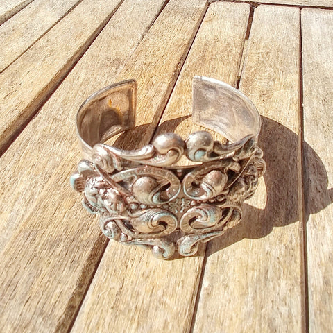 Antique Silver Crafted Pendant With Cherub Angels Made Into A Cuff