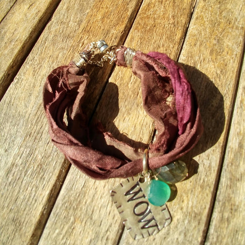 """WOW!"" This BOHO Festival Chic Silk Ribbon Bracelet With Charming Real Gems"
