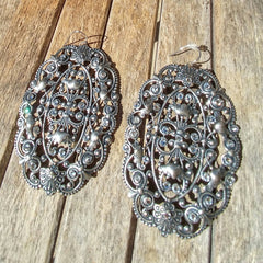 Antique Silver Unique Vintage Drop Dangle Earrings Accented with Swarovski Crystals