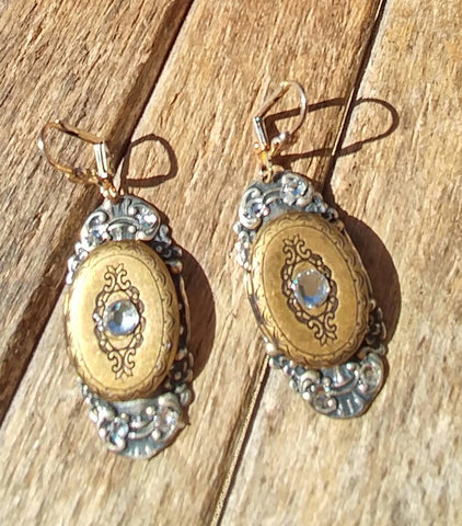 Charming Locket Earrings  Antique Silver And Brass Blinged Out With Swarvorski Crystals