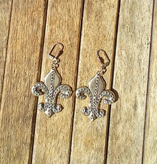 "Antique Silver Fleur de lis Earrings Accented With Swarovski Crystals  ""Special For Any Occasion"""