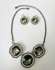 Top Qualty Boutique Style Circle And Octagon Shaped Faux Faceted Stones Necklace Set