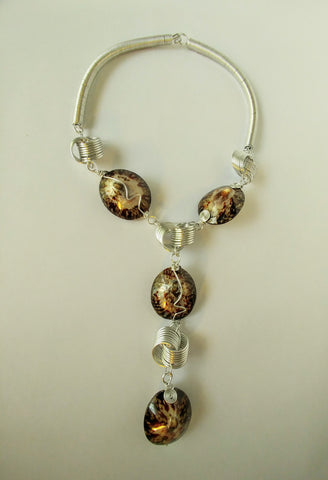 Art Deco Designed Polished Brown Limpet Shells Wrapped In Silver Wire