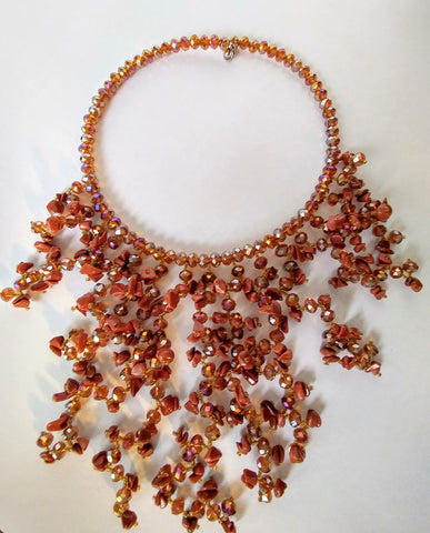 Very Fascinating And Glamous Bib Necklace Made Of Crystals And Cat Eye Beads
