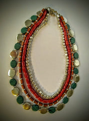 BoHo Festival  Five Standed Necklace With Silver Beads, Wood Beads, Turquoise Beads And Rustic Maroon Colored Glass Beads