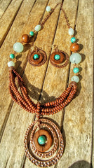 BoHo Festival Jewelry Is Filled With Wood Beads Chalcedony And Turquoise All In A Bronze Setting And Earrings To Match