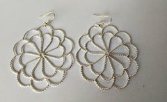 Ornamental Work Of A Pretty Flower Makes This Silver Unique Pair Of Earringss