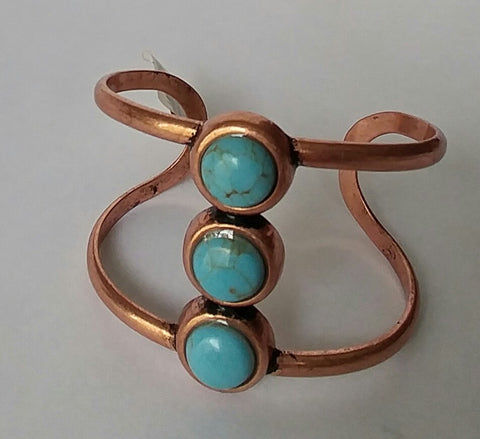 BoHo Festival Copper Bar Cuff Bracelet with Three Bevelled Turquoise Stones