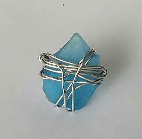 "BoHo Festival Chic Ocean Blue Sea Glass Ring Wrapped In Silver  ""Very Bohemian"""