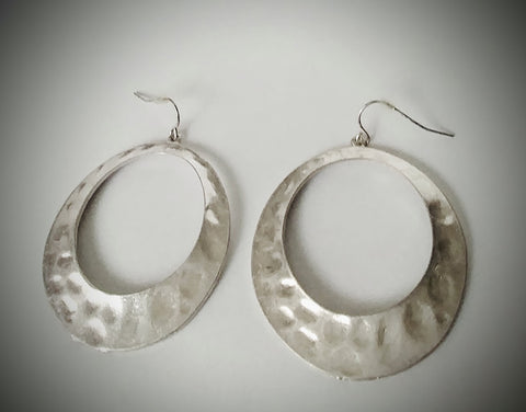 "Silver Hammered Round Hoops ""Everyone Needs A Pair Of Hoops"""