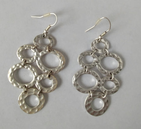 "Hammered Silver Contemporary Cool Earrings. ""These Earrings Can Be Dressed Up Or Down"""