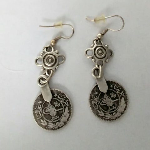 Small Vintage Turkish Coin Charm Earrings.