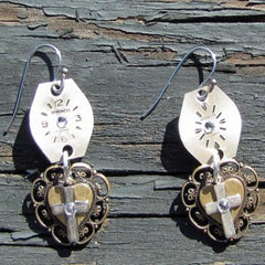"""Time For Prayer"" Earrings Brass Heart Medalion With A Silver Cross And Antique Watch Faces Accented With Swarovski Crystals"