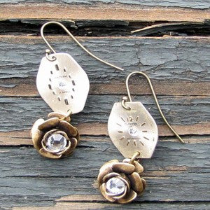 """Time To Smell The Roses"" Earrings With Antique Roses And Antique Watch Faces Accented With Swarovski Crystals"