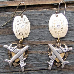 """Time Fly's Earrings"" With Silver Clever Airplanes And Antique Watch Faces Accented With Swarovski Crystals"