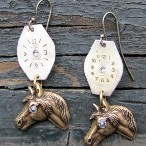 """Time To Horse Around"" Earrings Antique Brass Horse Faces With Antique Watch Faces Accented With Swarovski Crystals"