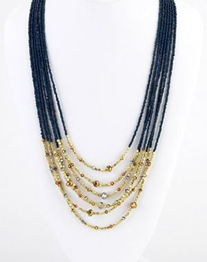 "Six Strand Navy Beaded Necklace With Gold Beads On The End  ""STUNNING"""