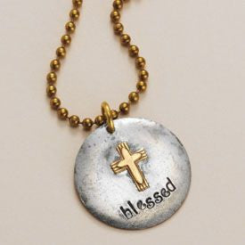 """Blessed"" Necklace Gold Cross"