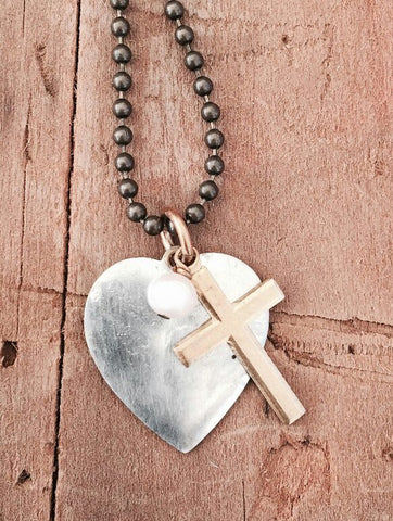 Silver Heart With A Cross And A Pearl Pendant Necklace On A Antique Brass Chain