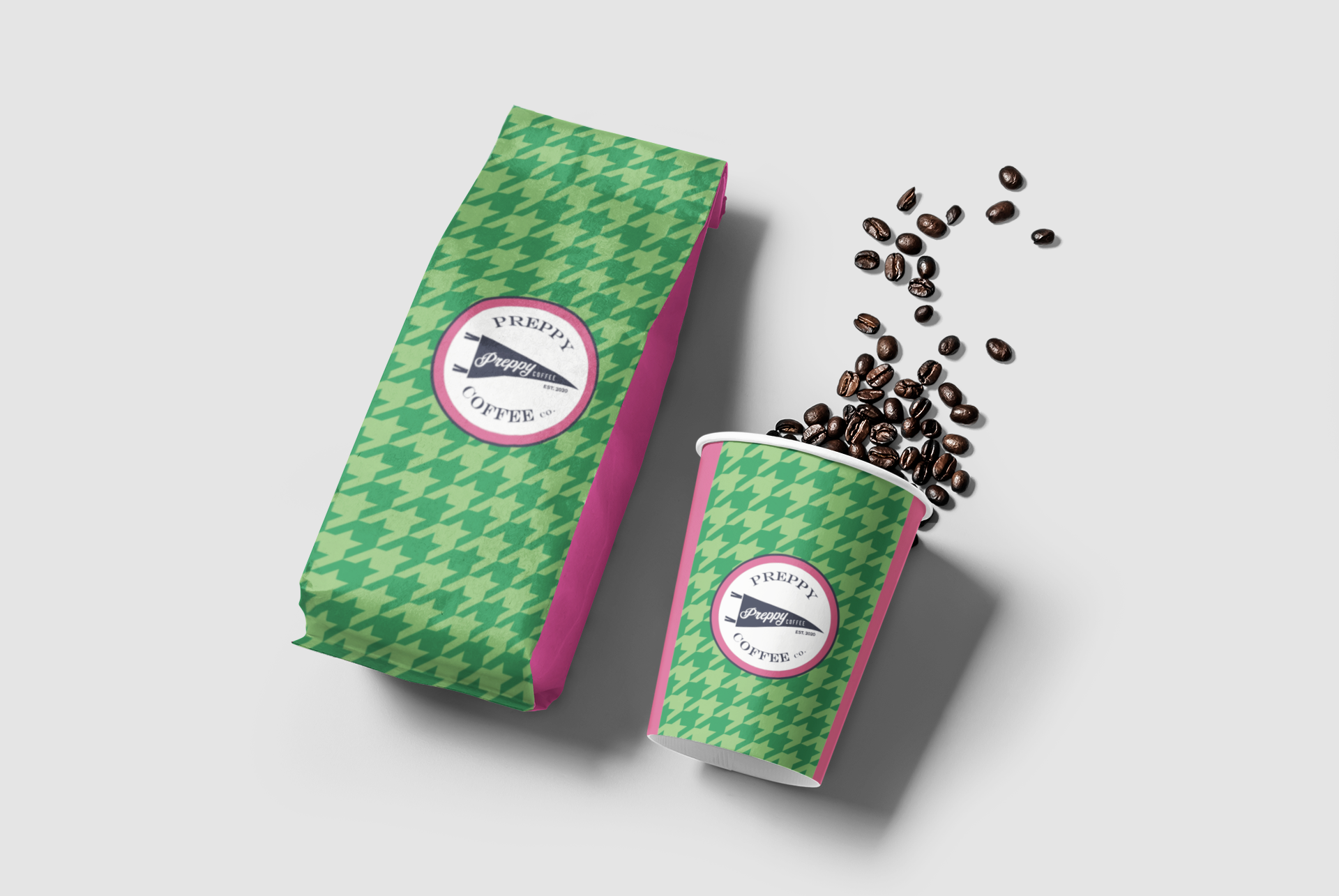 Green and Pink Houndstooth