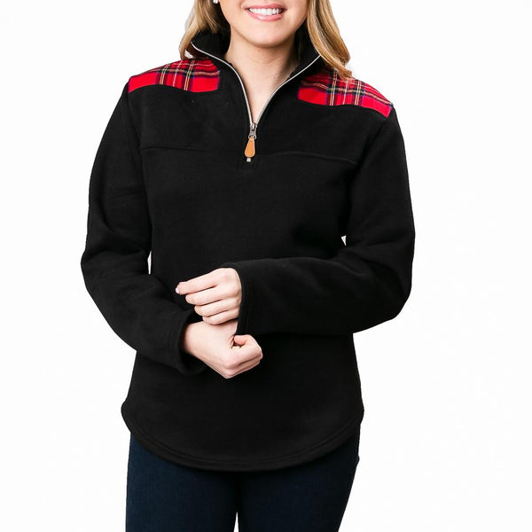 Keep Me Warm Pullover: Black/Red Plaid