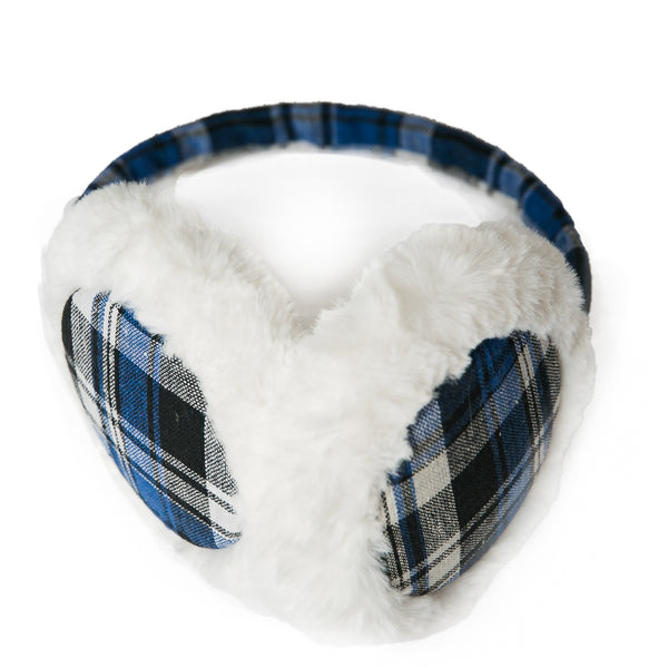 Sleigh Ridding Ear Muffs: Black/Blue Plaid