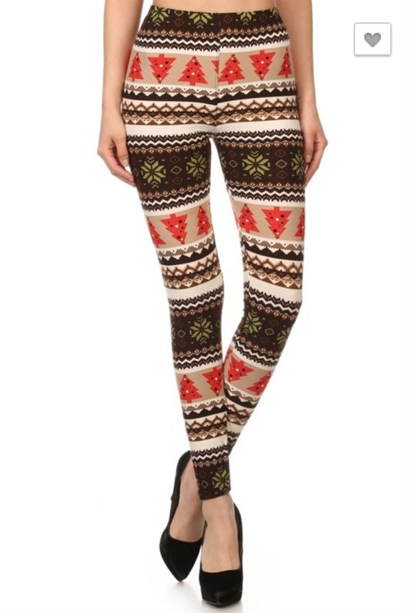 Oh Christmas Tree Leggings: Brown
