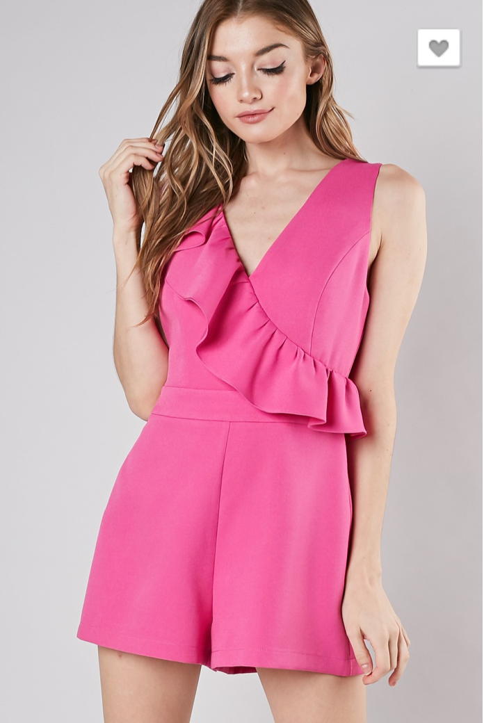 You Belong With Me Romper: Fuchsia