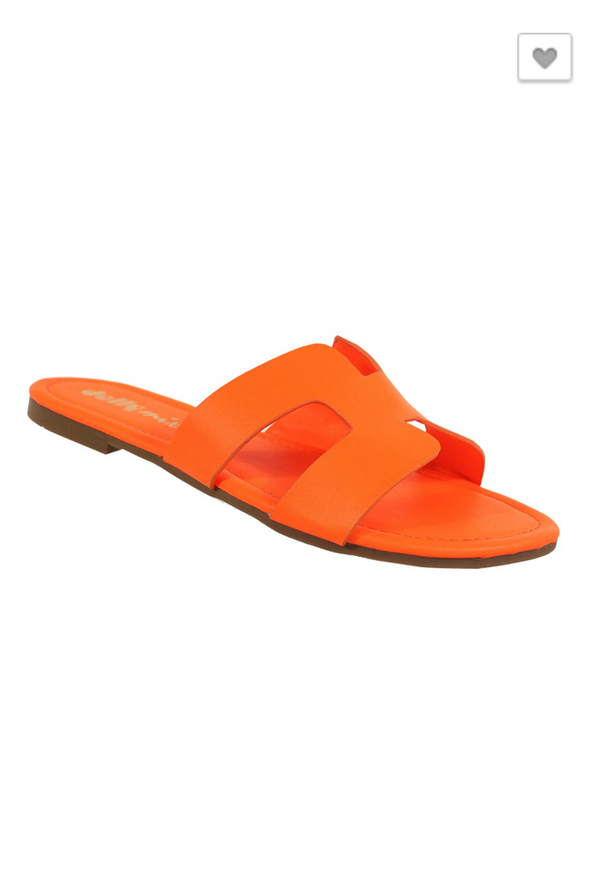 Take Me The Long Way Sandal: Neon Orange