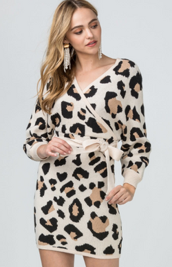 Wild At Heart Dress: Taupe Leopard