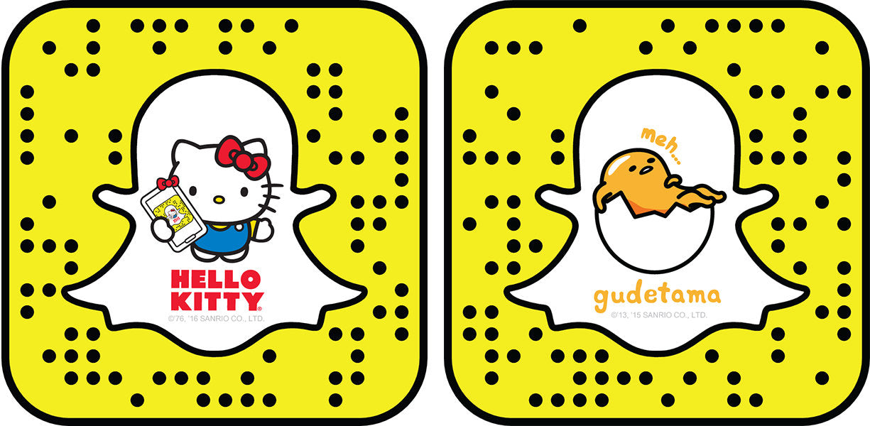 Hello Kitty and Gudetama are on Snapchat