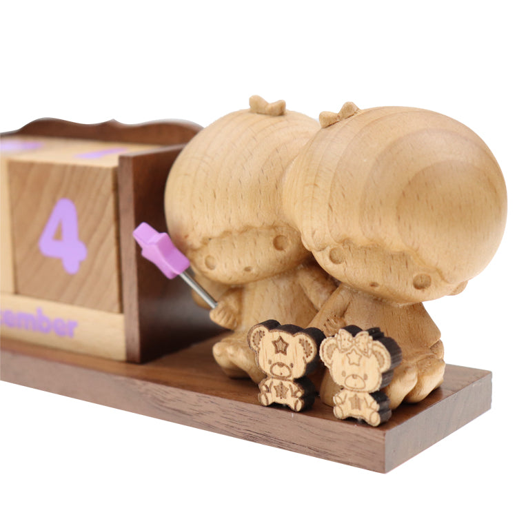 Little Twin Stars Wood Block Perpetual Calendar