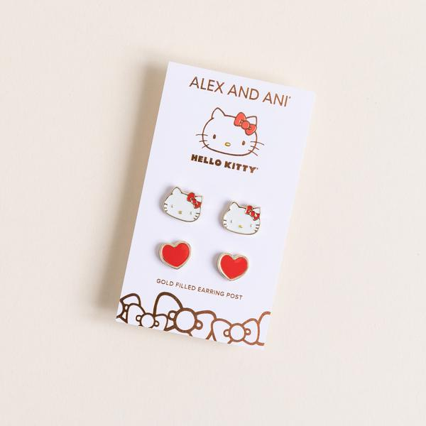 Alex and Ani Hello Kitty Red Heart Earrings Set