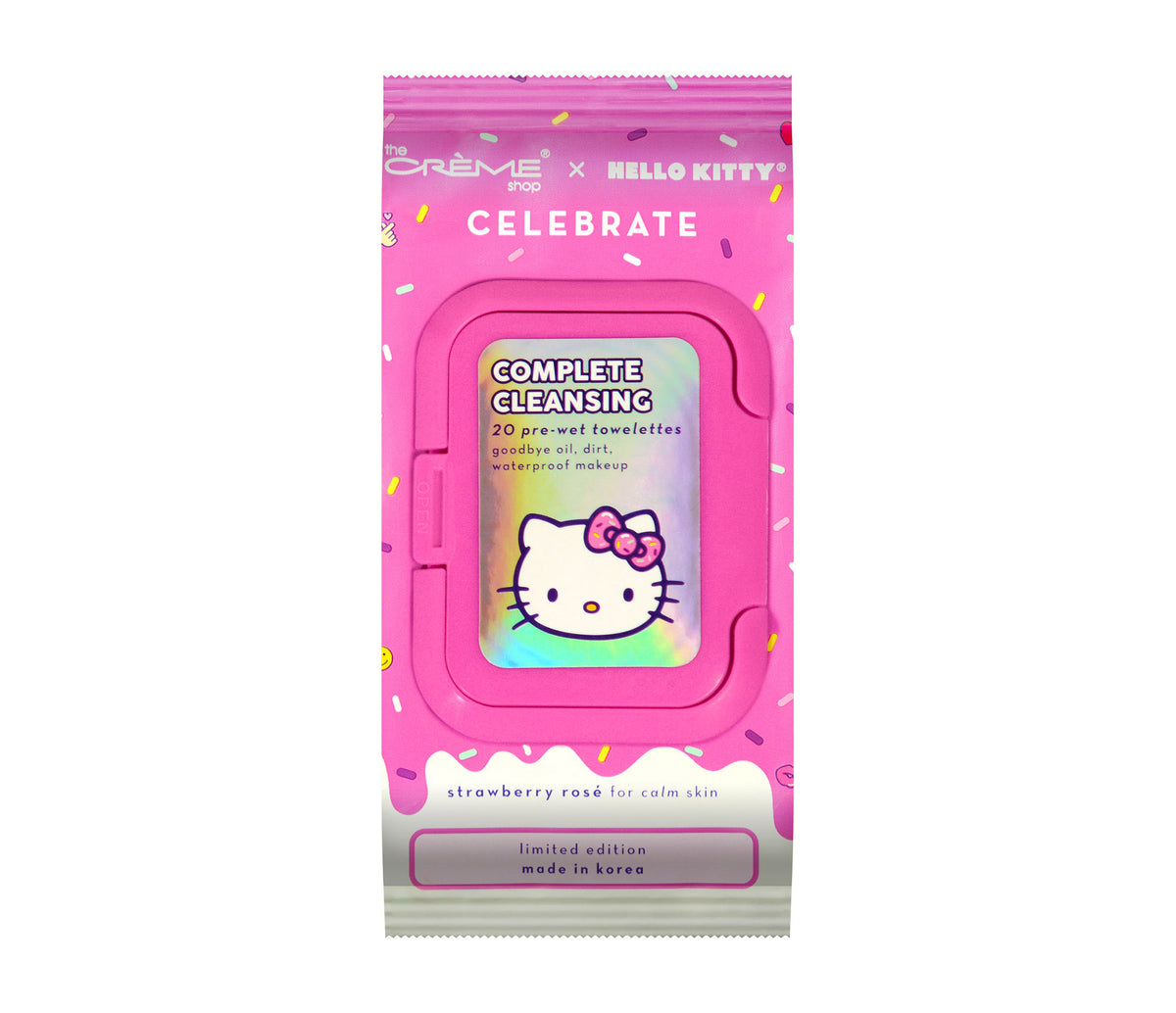 The Crème Shop x Hello Kitty Celebrate Complete Cleansing Towelettes Strawberry Rose