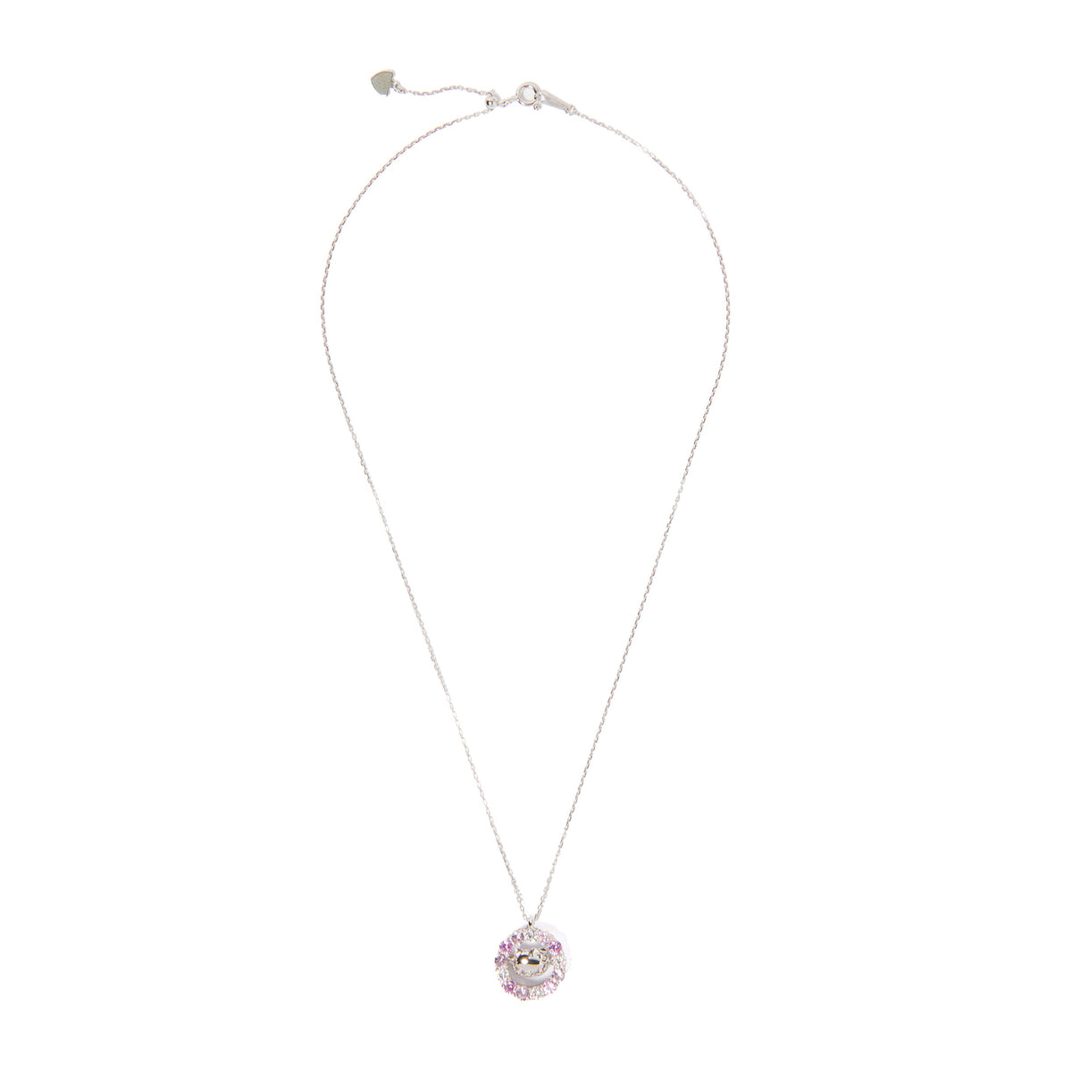 Hello Kitty Silver Pink & White Crystals Necklace