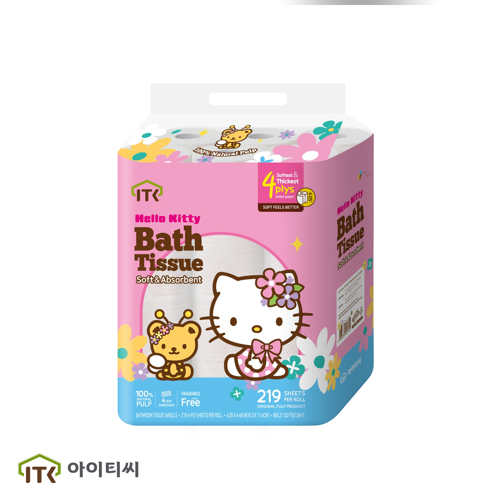 Hello Kitty Flowers Toilet Paper 24 Rolls